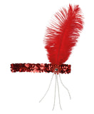 bandeau charleston plume rouge