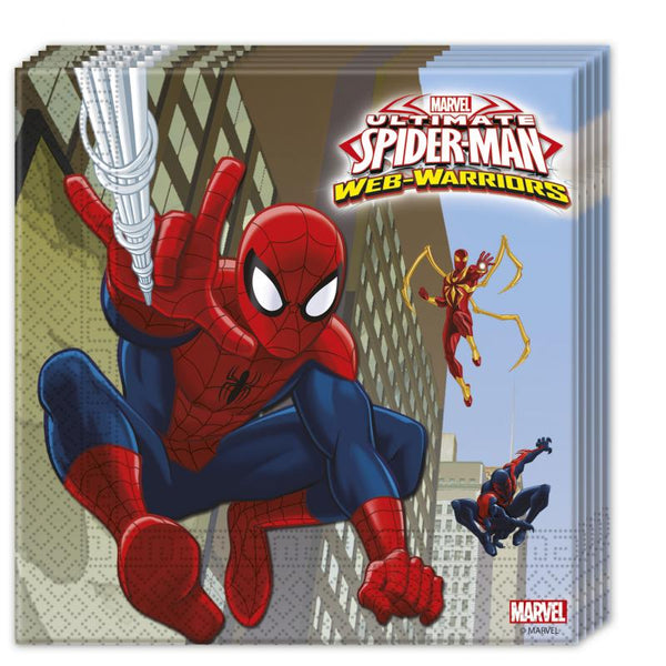20 serviettes Spiderman 33x33 - multicolore