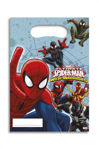6 sachets cadeaux spiderman web warriors