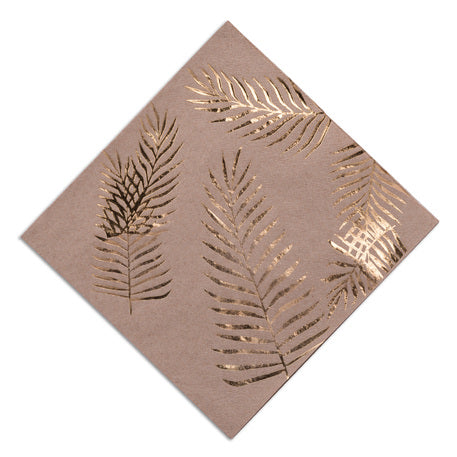 16 serviettes Feuilles chics 33x33 - rose/or