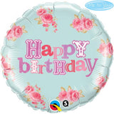 ballon alu happy birthday fleurs