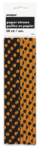 10 pailles halloween orange et noir