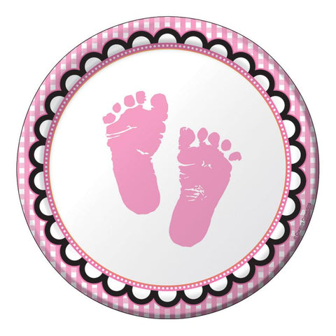 8 assiettes pieds baby shower fille