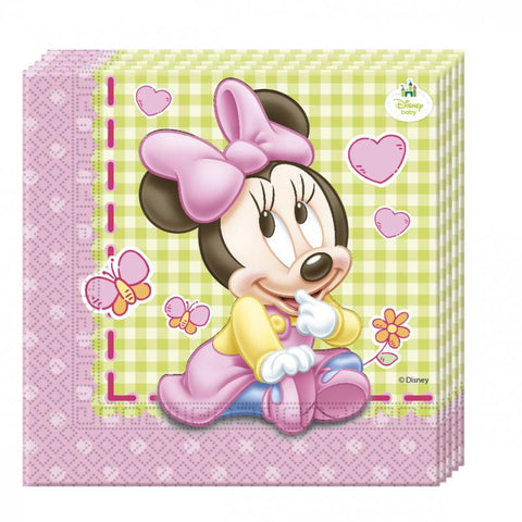 20 serviettes baby Minnie - rose