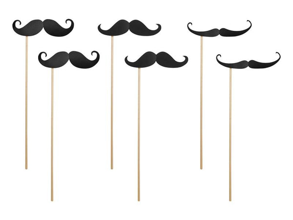 6 photobooth moustaches noires