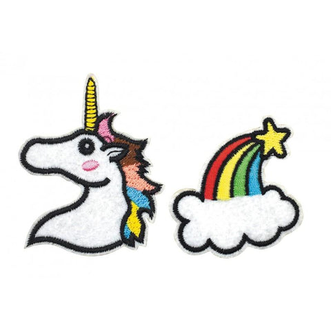 2 broches licorne arc en ciel