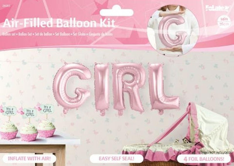 ballon aluminium 36 cm GIRL - rose