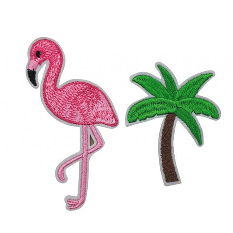 2 broches flamant rose palmier