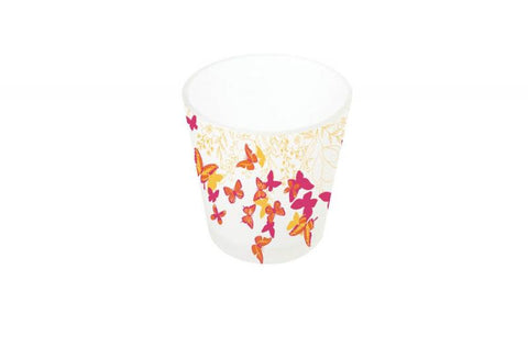 bougeoir verre papillons