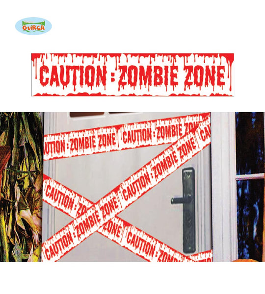 ruban caution zombie blanc 6m