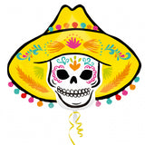 ballon aluminium sombrero day of the dead 74 cm