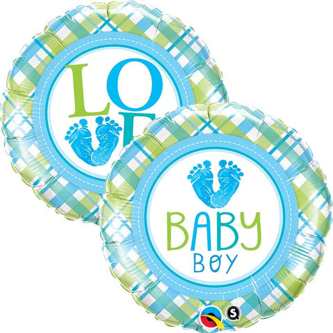 Ballon alu baby boy love pied 45 cm