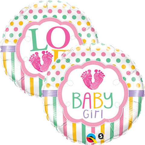 Ballon alu baby girl love pied 45 cm
