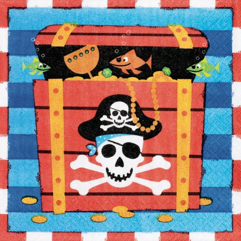 Table & jetable 12 serviettes anniversaire pirate - Vivafiesta