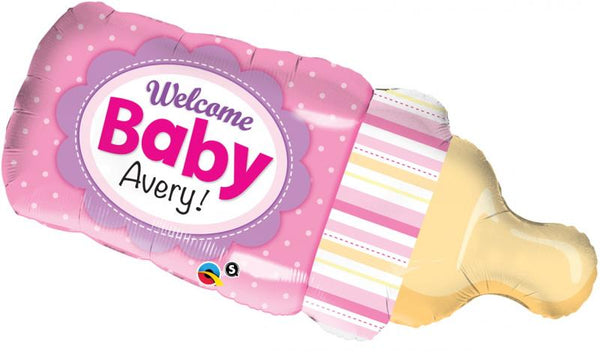ballon alu biberon welcome baby - rose