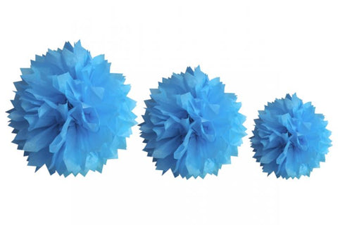 3 boules pompom  - turquoise