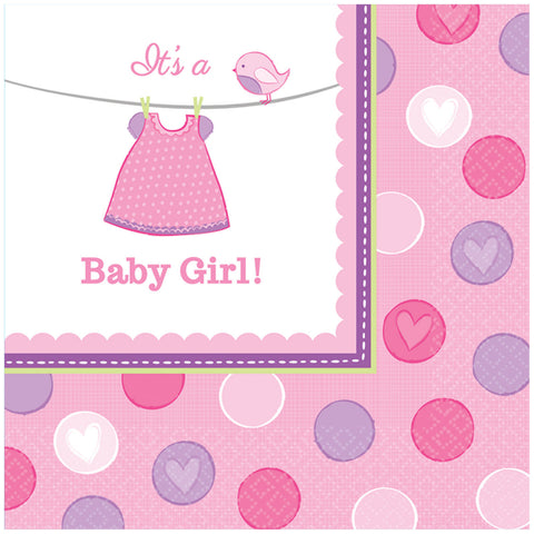 16 serviettes Baby Girl 33x33 - rose