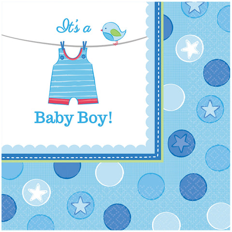 Serviettes baby shower par 16 - bleu