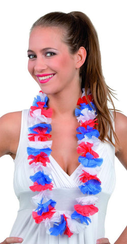 collier hawaien bleu blanc rouge supporter france