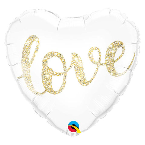 Ballon coeur alu love  blanc & or