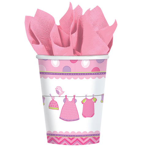 Gobelets baby shower par 8 - rose