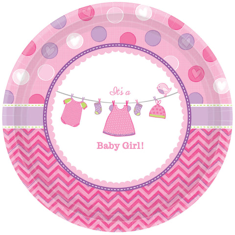 Assiettes baby shower par 8 - rose