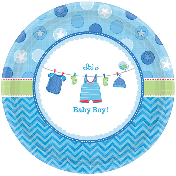 Assiettes baby shower par 8 - bleu