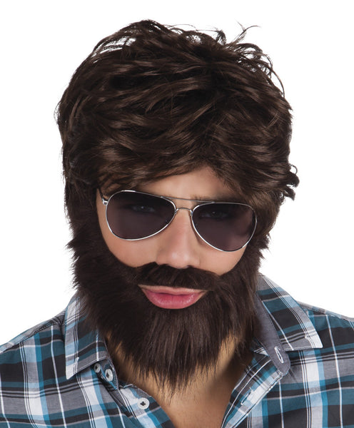 perruque brune avec barbe homme