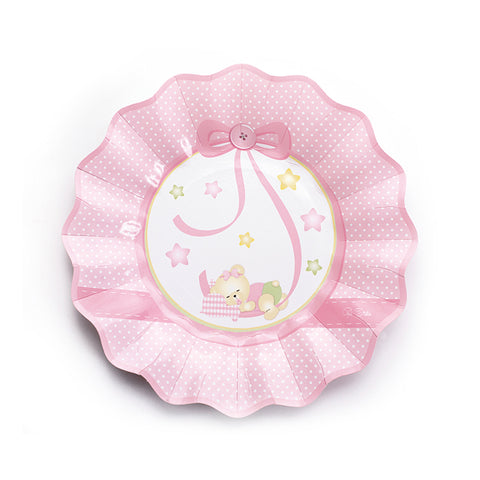 Assiettes ourson par 10 - rose