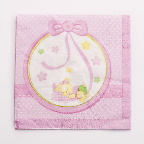 Serviettes ourson par 16 - rose