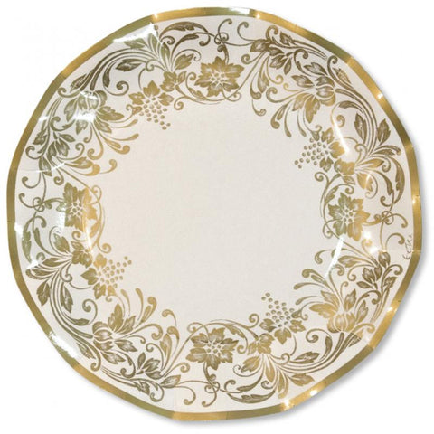 10 assiettes 27cm noblesse or