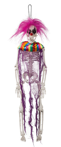 Suspension 1 squelette clown psychopathe 40cm.