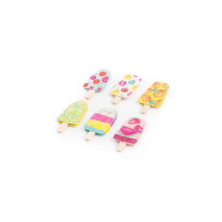 6 Stickers glaces tropicales 4.5cm