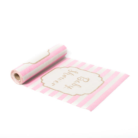 Chemin de table lin rayé rose & or Baby Shower   28cmx5m