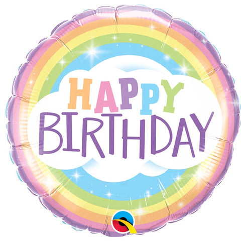 Ballon alu Happy Birthday rainbow 45cm