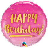 Ballon alu Birthday gold & rose 45 cm