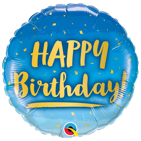 Ballon alu Birthday gold & bleu 45 cm