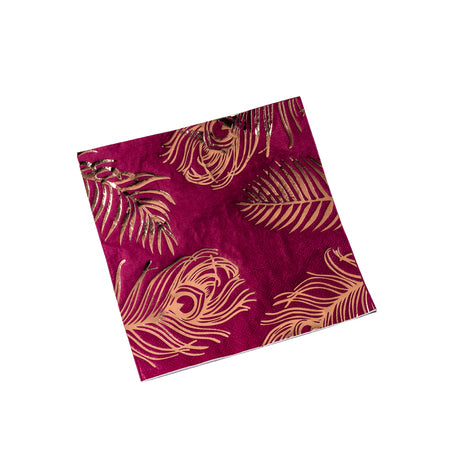 16 serviettes plumes paon 33x33 - rose/or