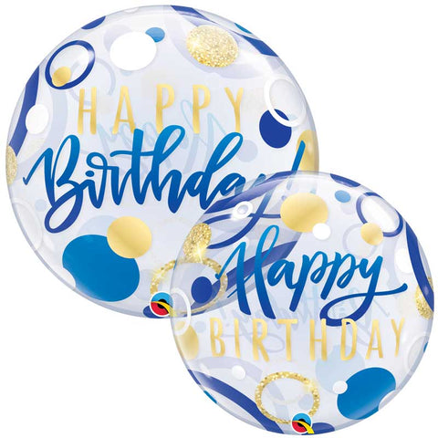 Bubble Birthday bleu & or dots 56cm