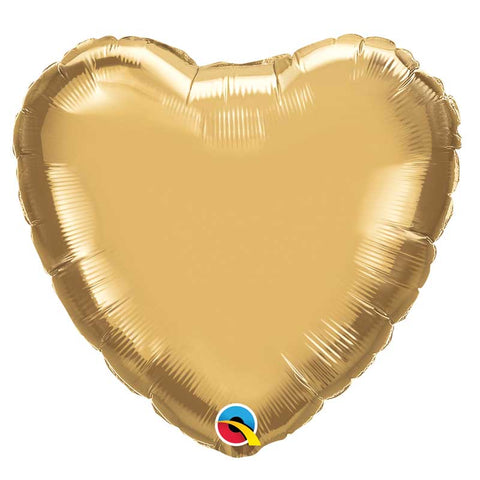 Ballon coeur alu or chrome 45cm