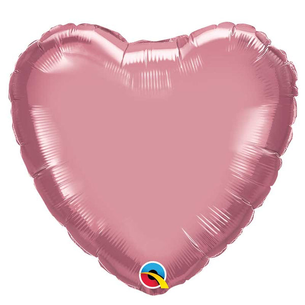 Ballon coeur alu chrome rose 45 cm