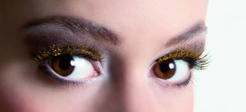 faux cils glitter or