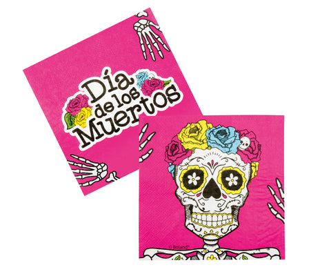 12 serviettes Day of the Dead - rose