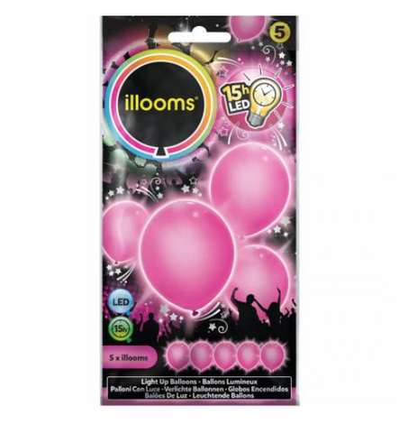 5 ballons LED - rose