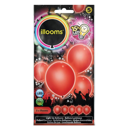 5 ballons LED - rouge