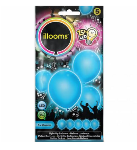 5 ballons LED - bleu