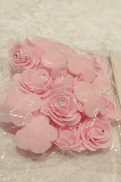 20 fleurs mousse + strass - rose