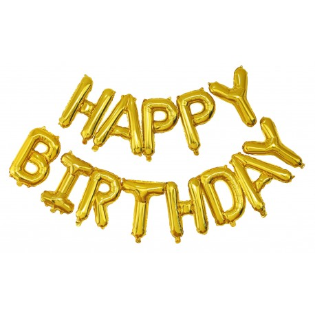 Kit ballon mylar Happy Birthday or 40 cm