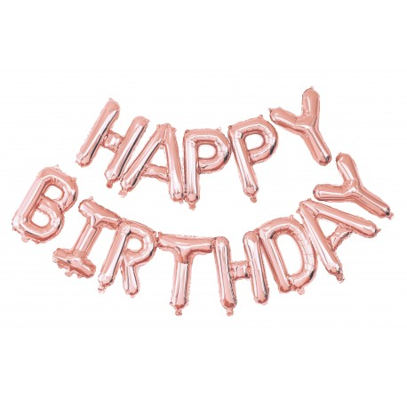 Kit ballon mylar happy birthday rose gold 40 cm