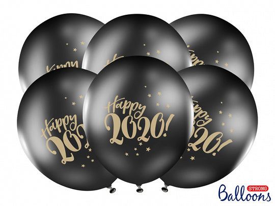 Ballons Happy New Year 2020 - noir/or